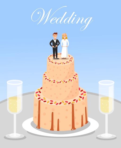 Gâteau de mariage et verres de champagne. Vecteur Premium