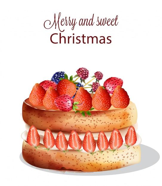 Gâteau de noël sucré à la fraise et autres fruits Vecteur Premium