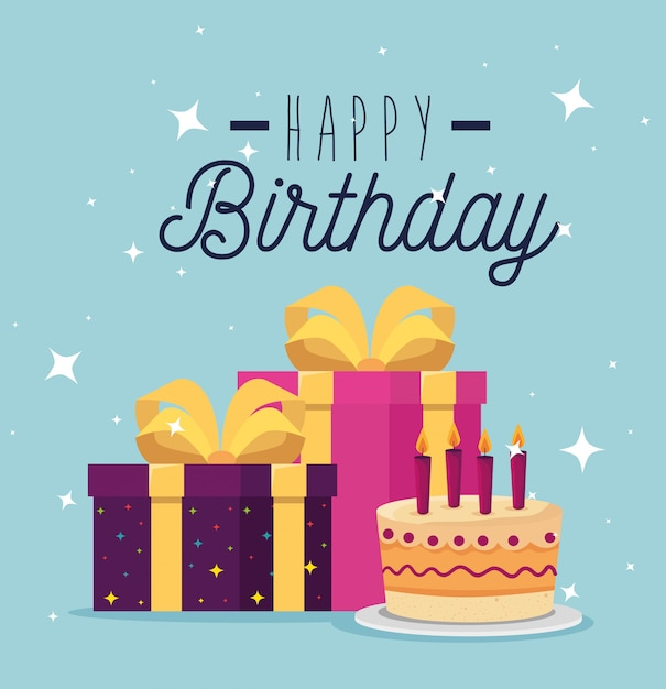 Gâteau sucré avec des bougies et des cadeaux présents, carte de voeux Vecteur gratuit