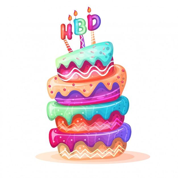 Gâteaux d'anniversaire colorés Vecteur Premium