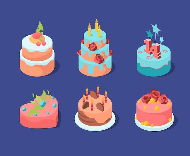 Gâteaux D'anniversaire. Pâtisserie Célébration Colorée Tarte Aux Fruits Bougies Aux Fraises Boulangerie Cupcakes. Vecteur Premium