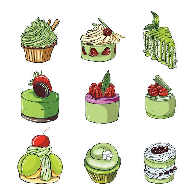 Gâteaux au thé vert dessinés à la main Vecteur Premium