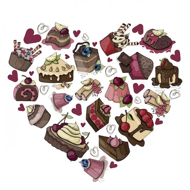 Gâteaux, muffins, bonbons sur un fond blanc Vecteur Premium
