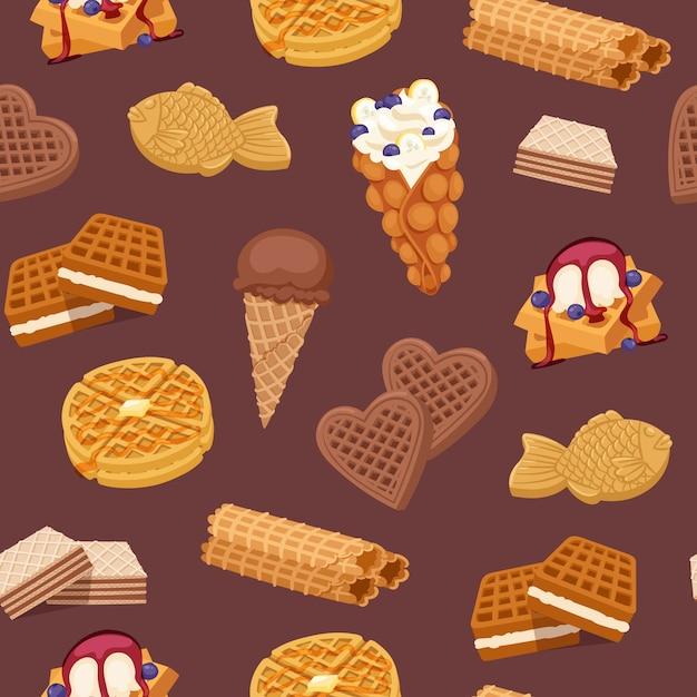 Gaufres, Biscuits Et Glaces, Gaufres Et Chocolat Délicieux Dessert Gaufrette Boulangerie Alimentaire Modèle Sans Couture Illustration. Vecteur Premium