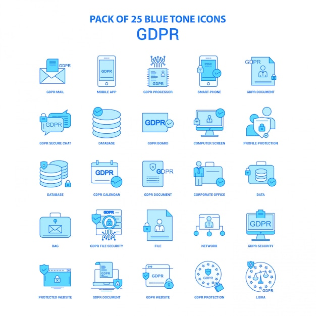 Gdpr blue tone icon pack Vecteur gratuit
