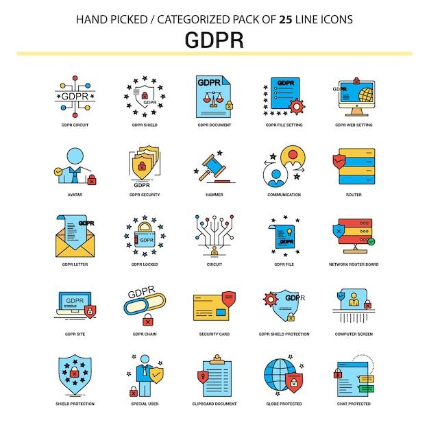 Gdpr ligne plate icon set Vecteur Premium