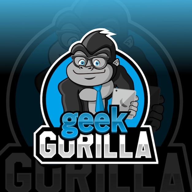 Geek Gorilla Mascotte Conception De Logo Esport Vecteur Premium