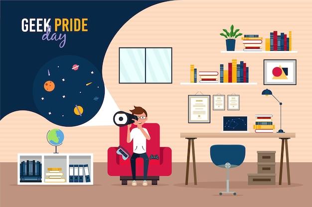 Geek Pride Day Boy Regardant à Travers Un Télescope Vecteur gratuit