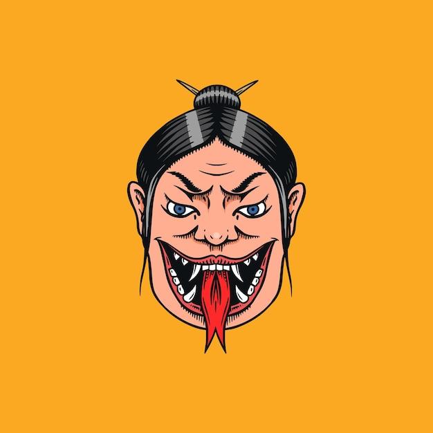 Geisha Femelle Japonaise Avec Langue De Serpent. Femme Effrayante Qui Crie. Chinois Mythologique Ou Asiatique Vecteur Premium