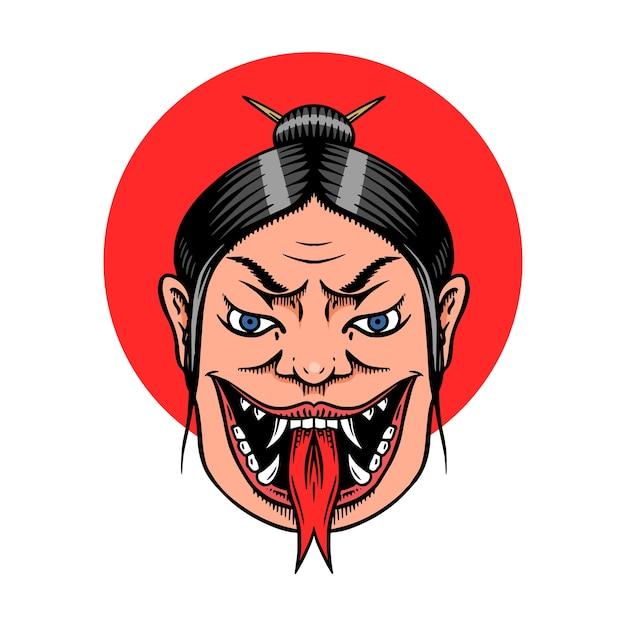 Geisha Femelle Japonaise Avec Langue De Serpent. Vecteur Premium