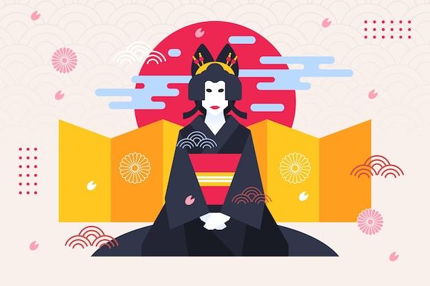 Geisha Femme Fond Géométrique Style Japonais Vecteur Premium