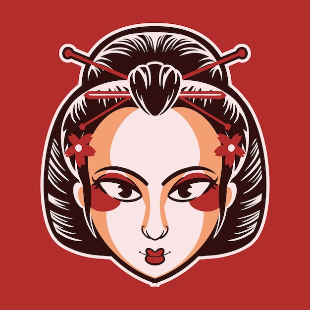 Geisha Kabuki Vecteur Premium