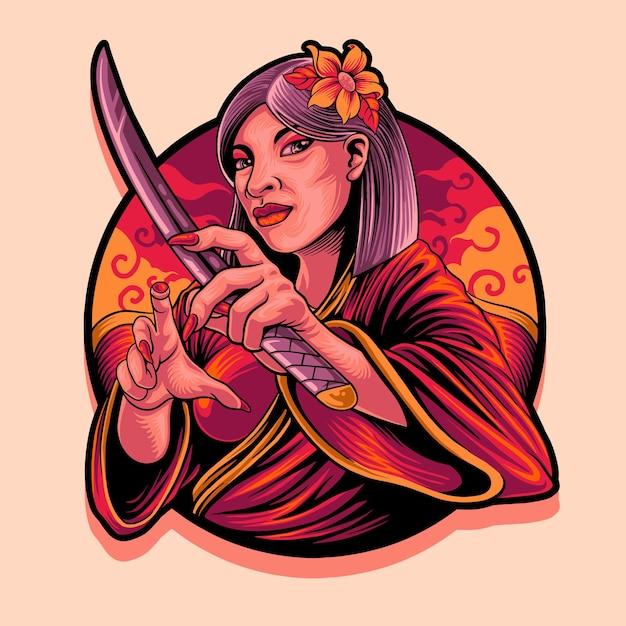 Geisha Orientale Avec Illustration De Mascotte De Samouraï Vecteur Premium