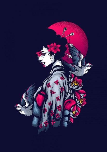 Geisha Vecteur Premium