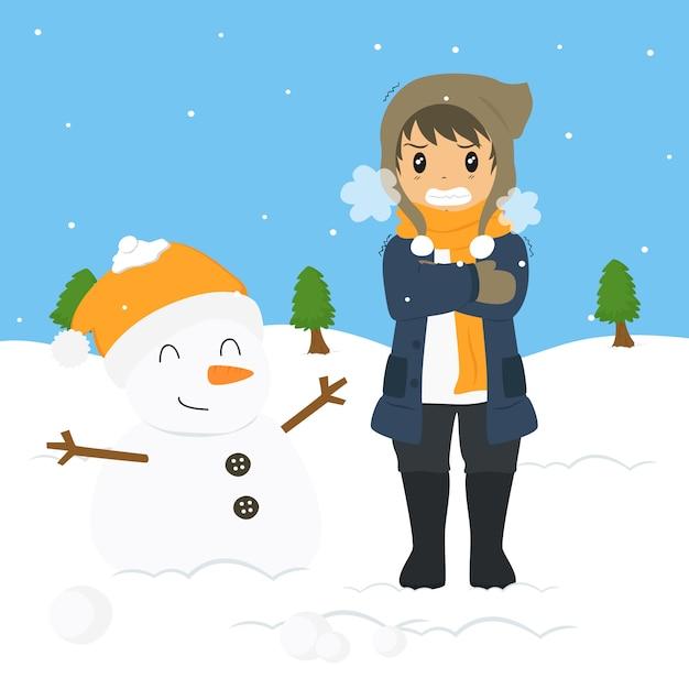 Gel Du Jeune Garçon Sous Le Froid De L'hiver Vecteur Premium