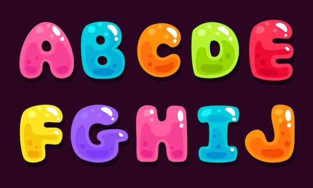 Gelée colorée alphabets partie 1 Vecteur Premium