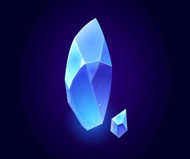 Gemme De Cristal, Icônes Isolées De Pierres Précieuses Magiques Bleues Vecteur gratuit