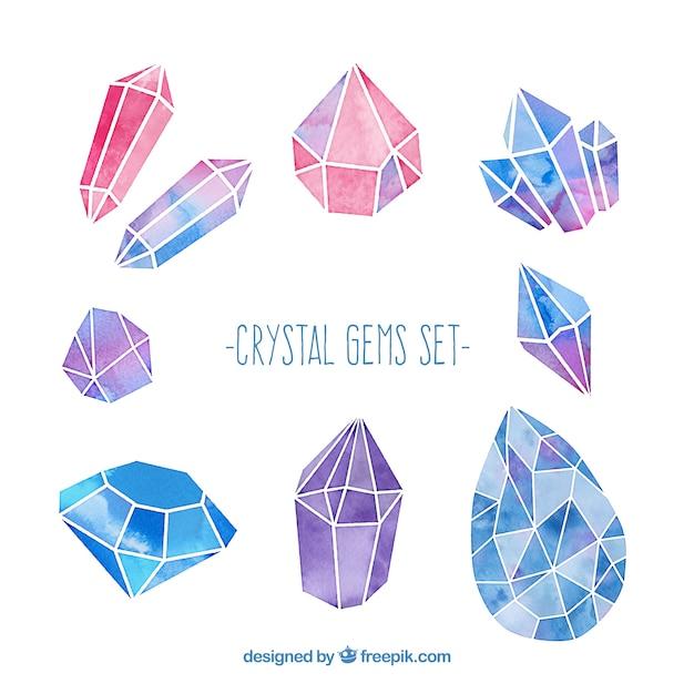 Gemmes De Cristal Mis Aquarelle Vecteur gratuit