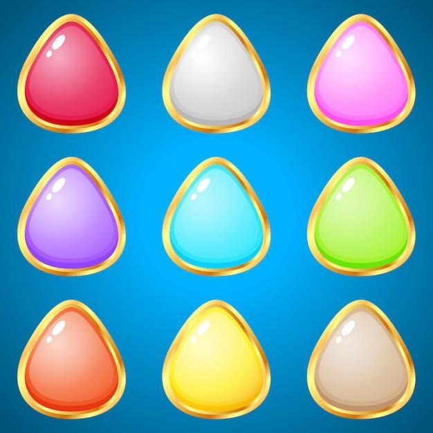 Gems triangle 9 couleurs pour les jeux de réflexion. Vecteur Premium