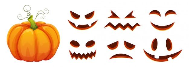 Générateur De Visages De Citrouille D'halloween. Citrouille De Dessin Animé Avec Des Visages Effrayés Et Souriants Vecteur Premium