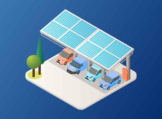 Génération D'énergie Solaire à L'aide De Panneau Sur Une Aire De Stationnement De Voiture, Illustration Isométrique Vecteur Premium