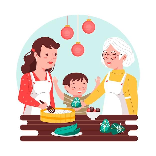 Des Générations De Cuisine Familiale Zongzi Vecteur gratuit