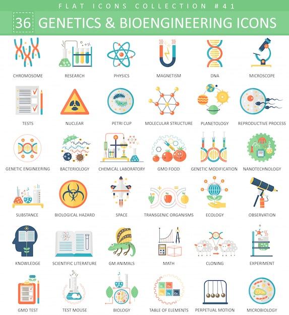 Génétique et bioingénierie ensemble d'icônes plat Vecteur Premium