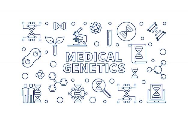 Génétique Médicale Médecine Concept Icône Linéaire Illustration Vecteur Premium