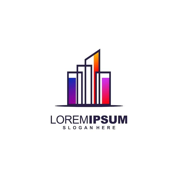 Génial premium logo design immobilier Vecteur Premium