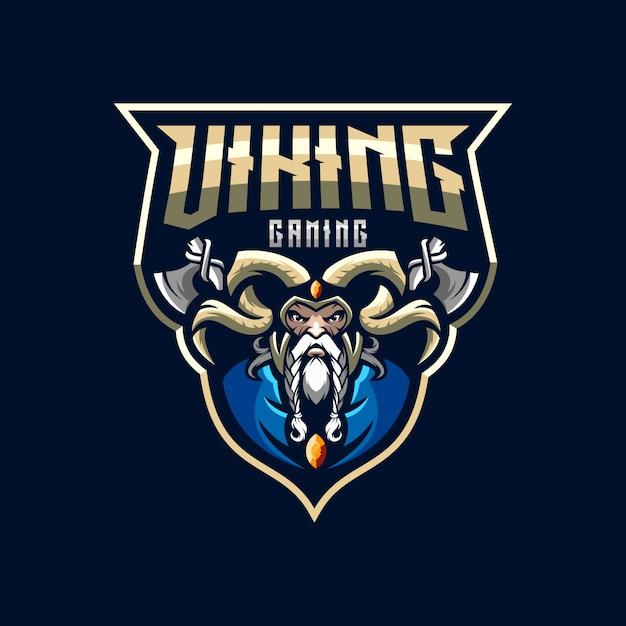 Génial viking esports logo illustration Vecteur Premium