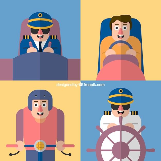 Genre De Pilotes Pack Vecteur gratuit