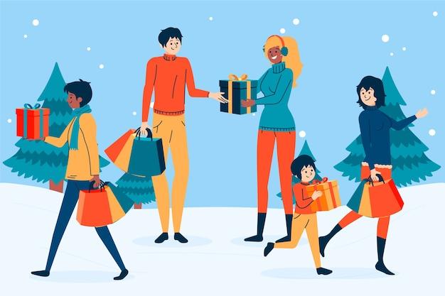 Les Gens Achètent Des Cadeaux De Noël Vecteur gratuit