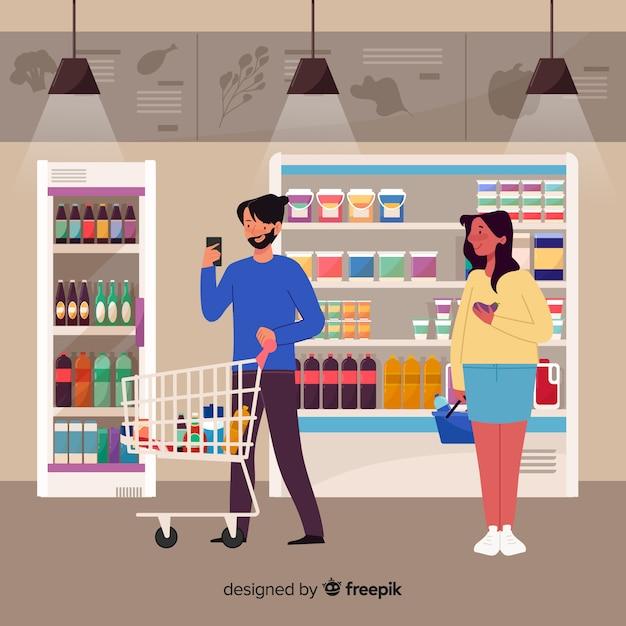 Les gens achètent dans le supermarché Vecteur gratuit