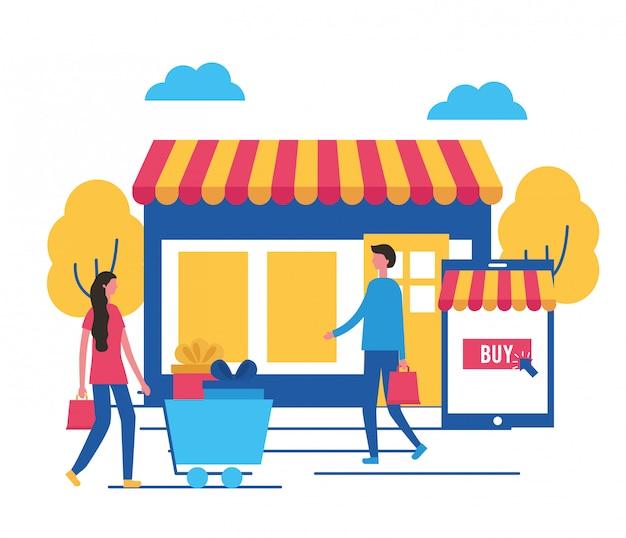 Les gens achètent en ligne Vecteur gratuit