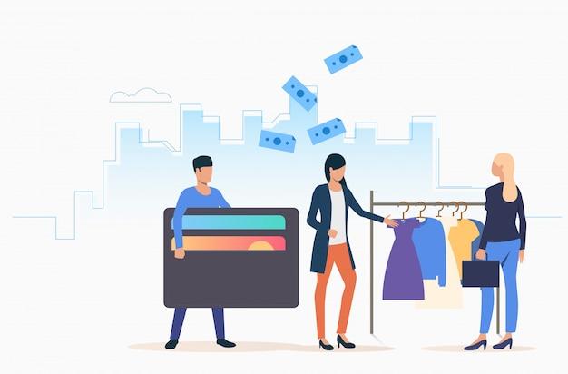 Les gens achètent des vêtements Vecteur gratuit