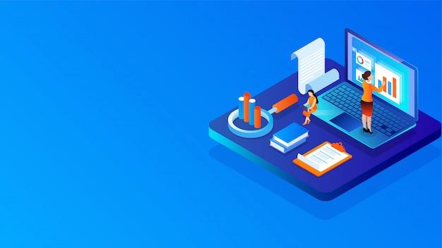 Les gens d'affaires 3d conservent ou analysent des données sur un ordinateur portable avec une loupe. Vecteur Premium