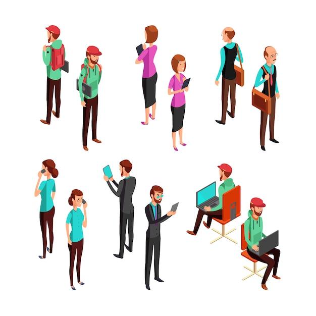 Gens d'affaires 3d isométriques isolés. ensemble de vecteur de travail d'équipe professionnel homme et femme Vecteur Premium