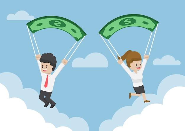 Les Gens D'affaires à L'aide De Billets En Dollars Comme Parachute Vecteur Premium