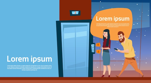Gens D'affaires En Attente D'ascenseur Vecteur Premium