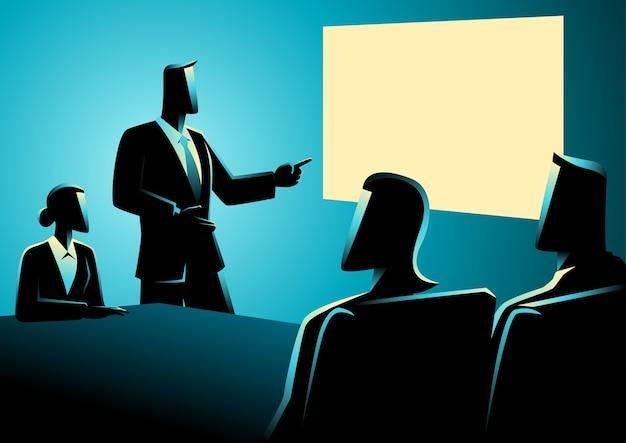 Gens d'affaires ayant une réunion en utilisant un projecteur Vecteur Premium