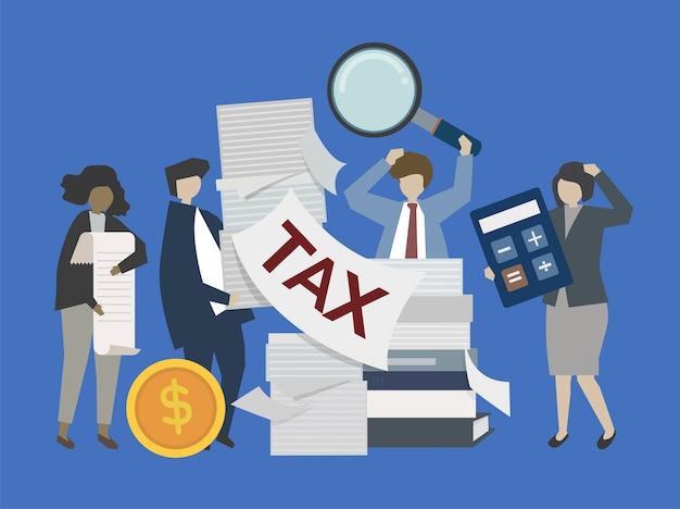 Gens d'affaires et banquiers avec illustration de l'argent Vecteur gratuit