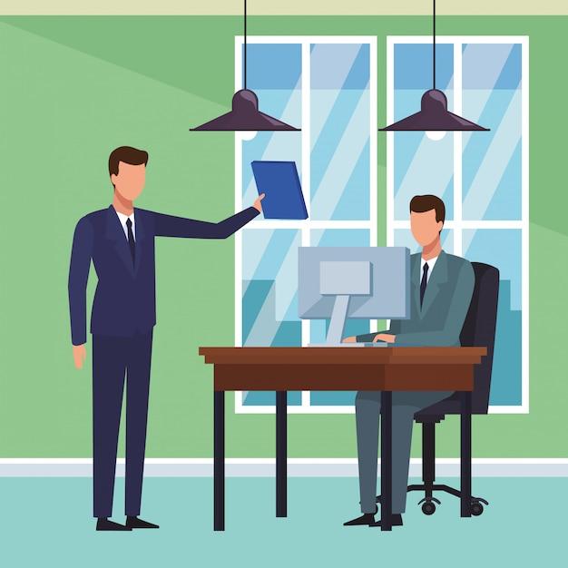 Gens d'affaires et bureau Vecteur Premium