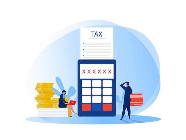 Gens D & # 39; Affaires Calculant Le Document Pour Les Taxes Illustration Plate Vecteur Premium