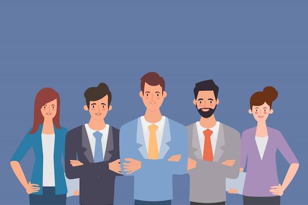 Gens d'affaires en caractère de groupe de travail d'équipe. Vecteur Premium