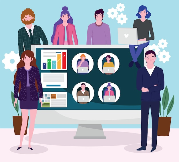 Les Gens D'affaires Communiquent Avec Leurs Collègues Par Vidéo, Illustration De Travail De Personnes Vecteur Premium
