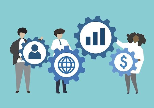 Gens d'affaires en connexion avec illustration engrenages Vecteur gratuit