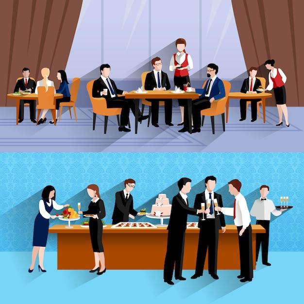 Gens d'affaires déjeuner au travail deux bannières horizontales Vecteur gratuit