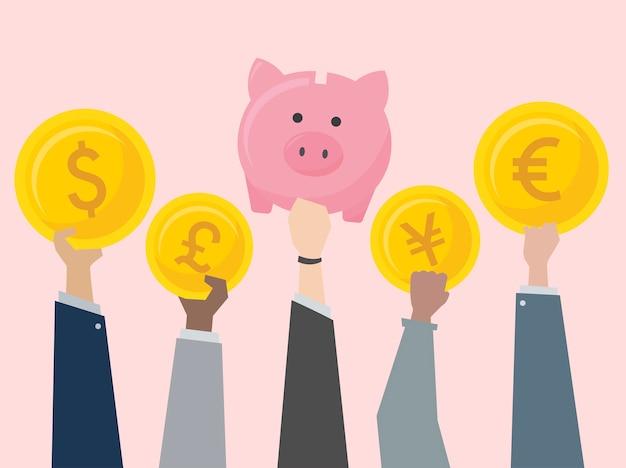 Gens d'affaires détenant des illustrations de devises Vecteur gratuit