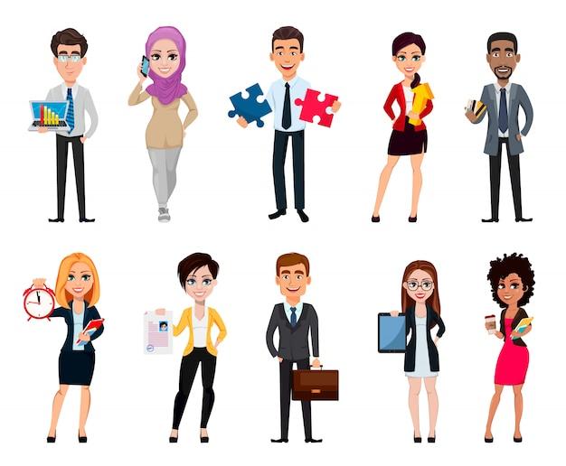 Gens d'affaires, ensemble de dix personnages de dessins animés Vecteur Premium