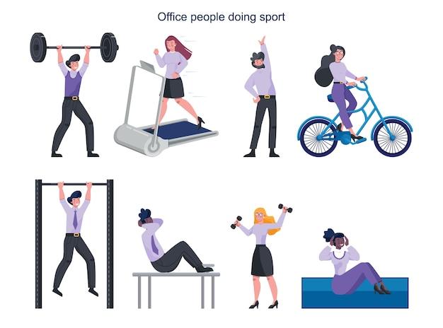 Gens D'affaires Faisant Le Jeu De Sport. Collection D'activités Sportives Différentes. Vecteur Premium